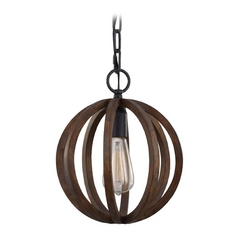 Feiss Lighting Allier Weather Oak Wood / Antique Forged Iron Mini-Pendant Light
