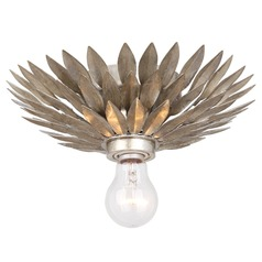 Crystorama Lighting Broche Antique Silver Flushmount Light