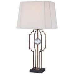 Minka Ambience Silver Leaf Table Lamp with Cut Corner Shade