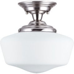 Schoolhouse LED Semi-Flushmount Light Brushed Nickel Academy by Sea Gull Lighting