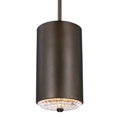 Feiss Botanic Dark Aged Brass Mini-Pendant Light with Cylindrical Shade