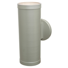Outdoor Wall Light with Cylinder Shade in Satin Nickel Finish