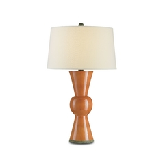 Mid-Century Modern Table Lamp Orange Upbeat by Currey and Company Lighting