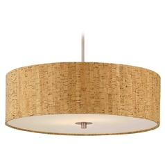 Cork Drum Shade Pendant Light in Nickel Finish