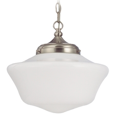 14-Inch Schoolhouse Pendant Light in Satin Nickel with Chain