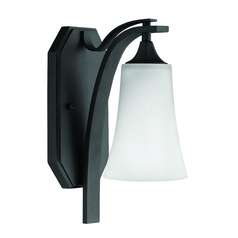 Sconce Wall Light with White Glass in Textured Black Finish