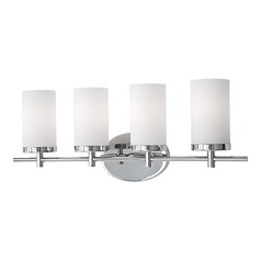Kuzco Lighting Modern Chrome Bathroom Light with White Opal Shade