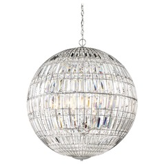 Minka Lavery Palermo Chrome Pendant Light with Globe Shade