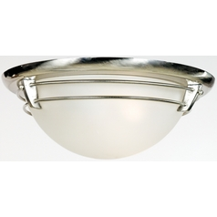 Quoizel Lighting Flushmount Light with White Glass in Brushed Nickel Finish NA1616BN