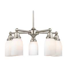 Chandelier with White Glass in Satin Nickel Finish