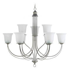 Chandelier with Alabaster Glass in Weathered Pewter Finish