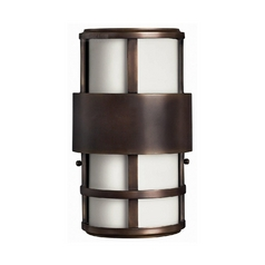 Modern LED Outdoor Wall Light with White Glass in Metro Bronze Finish