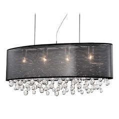 Kuzco Lighting Modern Chrome Pendant Light with Organza Black Shade