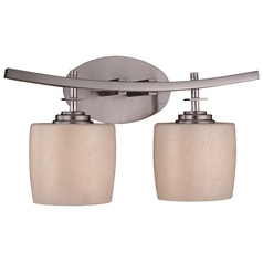 Modern Bathroom Light with Beige / Cream Glass in Brushed Nickel Finish