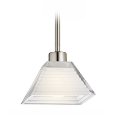 Kichler Lighting Kichler Modern Mini-Pendant Light with White Glass 10715SN