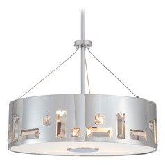 Modern Drum Pendant Light in Chrome Finish