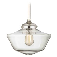 12-Inch Clear Glass Schoolhouse Pendant Light