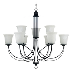 Sea Gull Lighting Plymouth 2-Tier 9-Light Chandelier with Alabaster Glass in Blacksmith