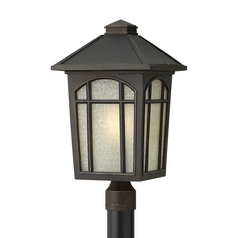 Hinkley Lighting LED Post Light with Amber Glass in Oil Rubbed Bronze Finish 1989OZ-LED