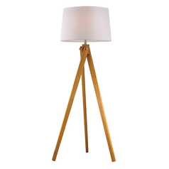LED Floor Lamp with White Shades in Natural Wood Tone Finish