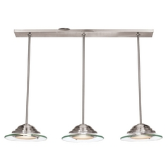 Access Lighting Phoebe Brushed Steel LED Multi-Light Pendant with Bowl / Dome Shade