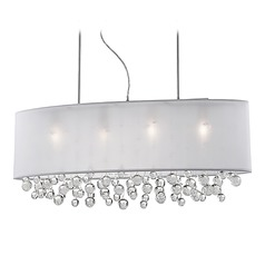Kuzco Lighting Modern Chrome Pendant Light with Organza White Shade