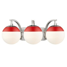 Golden Lighting Dixon Pewter Bathroom Light with Red Accent