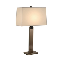 Modern Table Lamp with Beige / Cream Shade in Black Nickel Finish