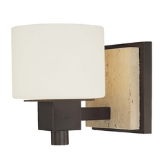 Sconce with White Glass in Aged Stone Finish