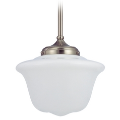 14-Inch Retro Style Schoolhouse Pendant Light in Satin Nickel Finish