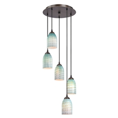 Design Classics Lighting Modern Multi-Light Pendant Light with Blue Glass and 5-Lights 580-220 GL1003D