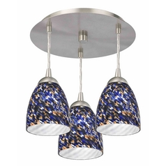 Design Classics Lighting Modern Semi-Flushmount Ceiling Light with Blue Art Glass 579-09 GL1009MB