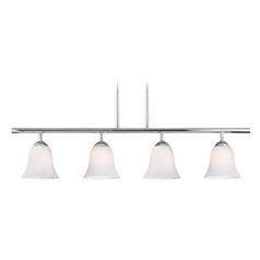 Design Classics Lighting Modern Island Light with White Glass in Chrome Finish 718-26 GL9222-WH