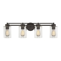 Seeded Glass Bathroom Light Bronze 4 Lt