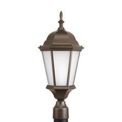 Post Light with White Glass in Antique Bronze Finish