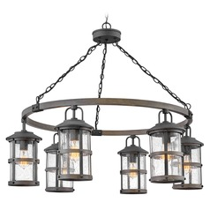 Hinkley Lighting Lakehouse Aged Zinc / Driftwood Grey Outdoor Chandelier