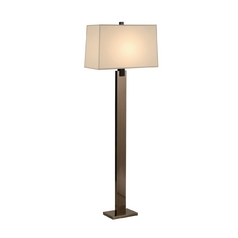 Modern Floor Lamp with Beige / Cream Shade in Black Nickel Finish