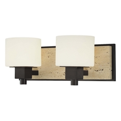 Minka Lighting Bathroom Light with White Glass in Aged Stone Finish 6152-244