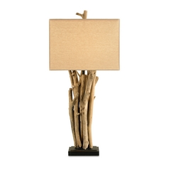 Table Lamp with Beige / Cream Shade in Natural Wood Finish