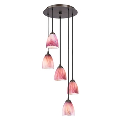 Design Classics Lighting Bronze Multi-Light Pendant Light with Pink Art Glass 580-220 GL1004MB