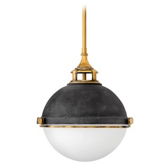 Fletcher Aged Zinc Pendant Light with Bowl / Dome Shade