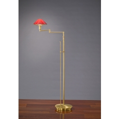 Holtkoetter Modern Swing Arm Lamp with Red Glass in Antique Brass Finish