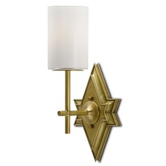 Currey and Company Fable Antique Brass/opaque Sconce