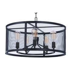 Maxim Lighting Palladium Black / Brass Pendant Light with Drum Shade