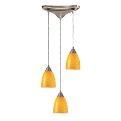 Modern Multi-Light Pendant Light with Art Glass and 3-Lights