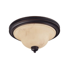 Flushmount Light with Beige / Cream Glass in Copper Espresso Finish