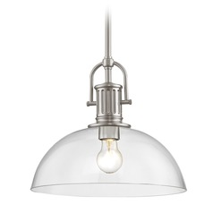 Industrial Satin Nickel Pendant Light with Clear Glass 13-Inch Wide
