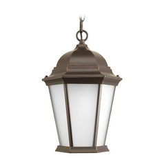 Outdoor Hanging Light with White Glass in Antique Bronze Finish