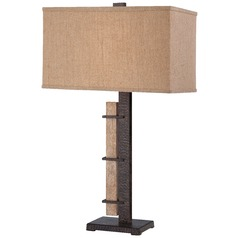 Minka Aspen Bronze Table Lamp with Rectangle Shade