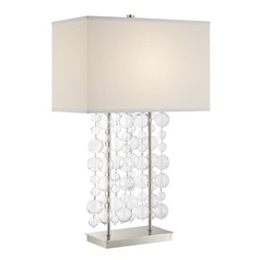 Lite Source Tribeca Chrome Clear Table Lamp with Rectangle Shade